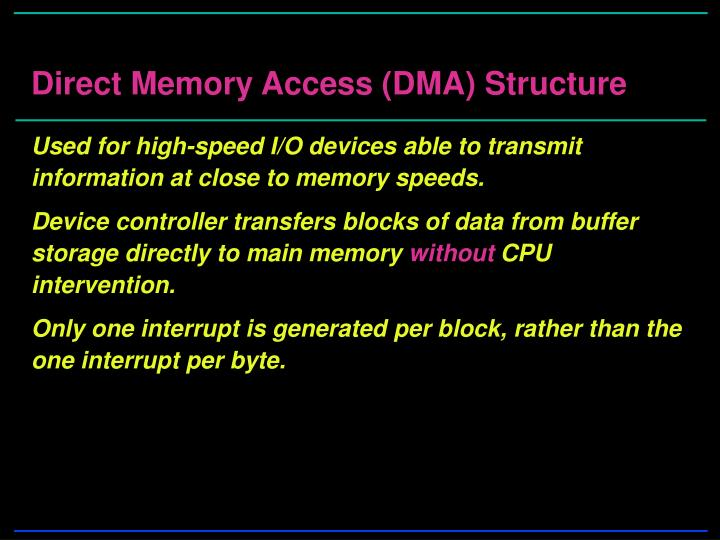 Direct Memory Access (DMA) Structure