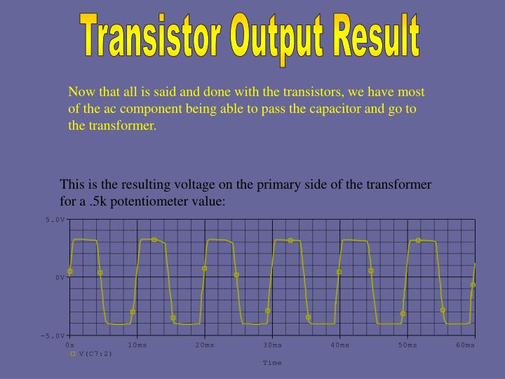 This is the resulting voltage on the primary side of the transformer for a .5k potentiometer value: