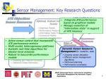 sensor management key research questions