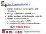 year 1 meeting feedback