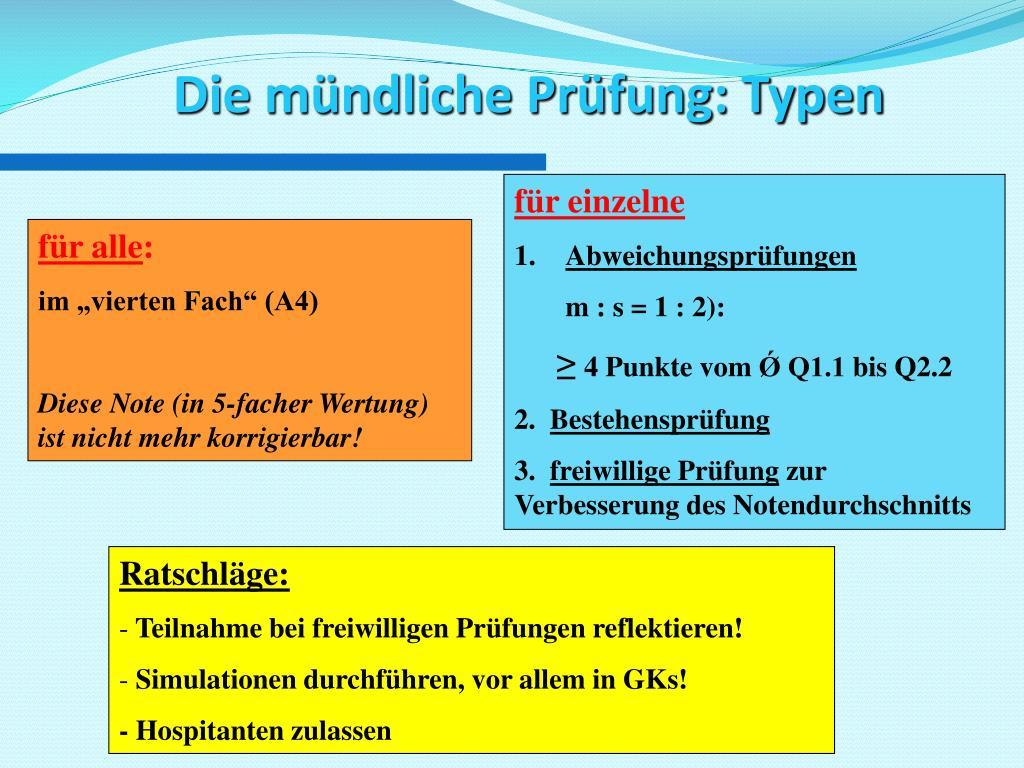 PPT - Die Gymnasiale Oberstufe (Qualifikationsphase