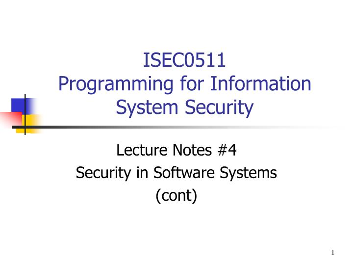 isec0511 programming for information system security n.