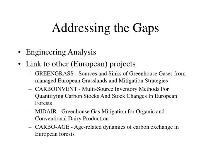 Addressing the Gaps