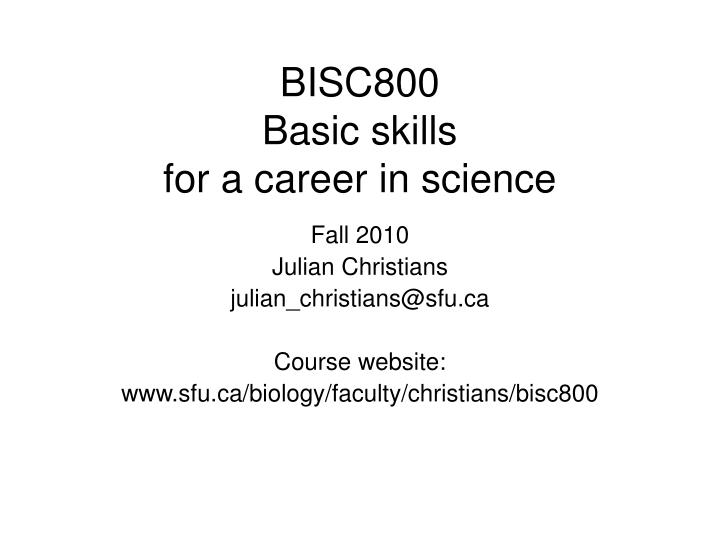 bisc800 basic skills for a career in science n.
