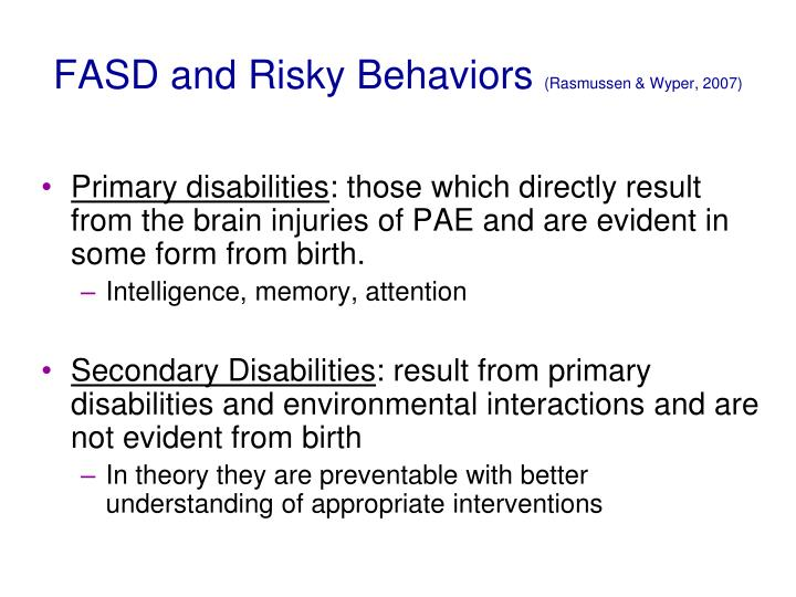 FASD and Risky Behaviors