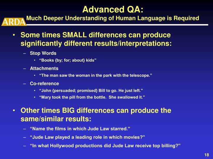 Advanced QA: