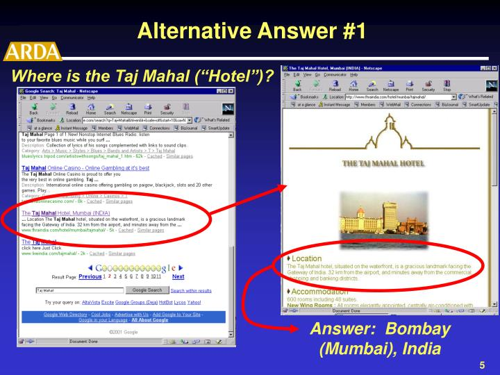 "Where is the Taj Mahal (""Hotel"")?"