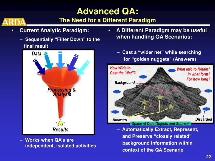 A Different Paradigm may be useful when handling QA Scenarios: