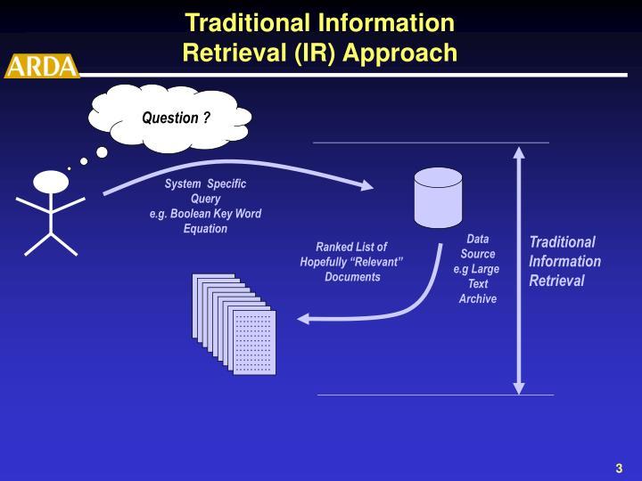 Traditional information retrieval ir approach