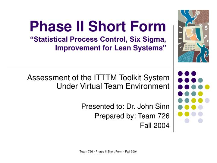 phase ii short form statistical process control six sigma improvement for lean systems n.