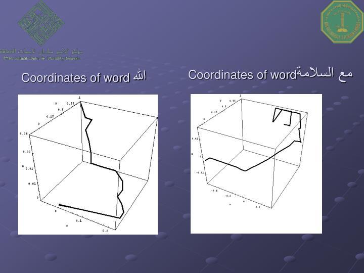 Coordinates of word