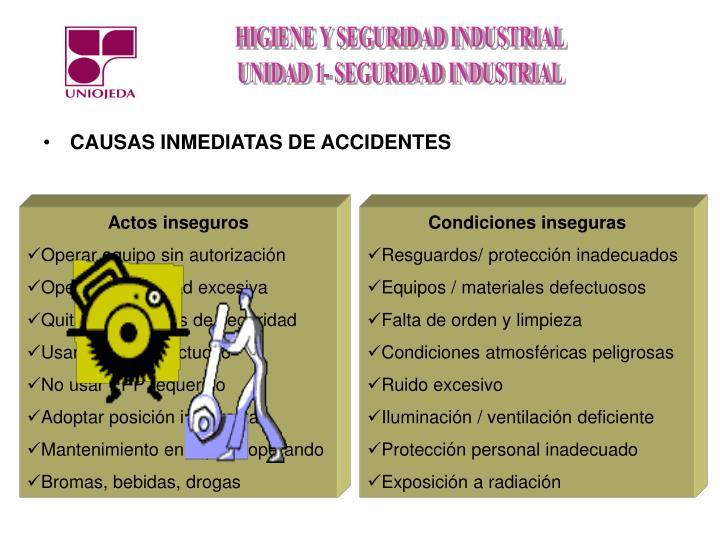 CAUSAS INMEDIATAS DE ACCIDENTES