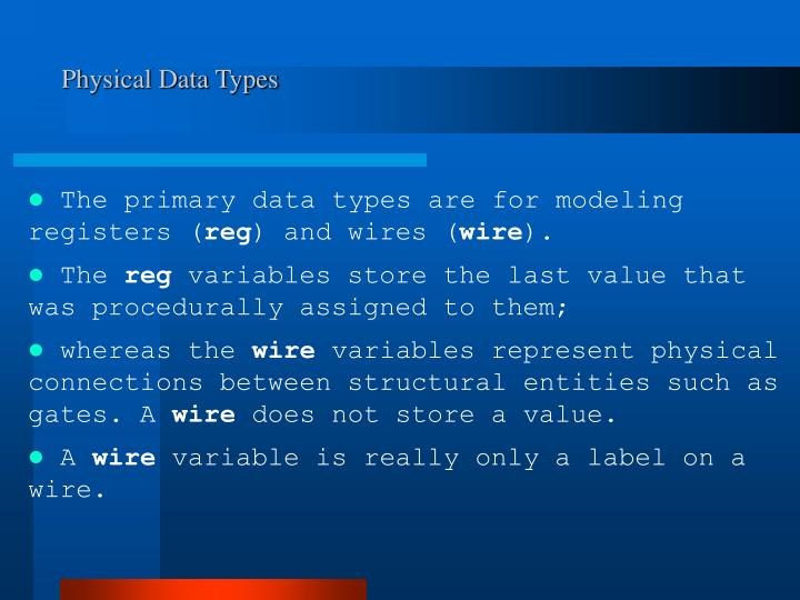 Physical Data Types