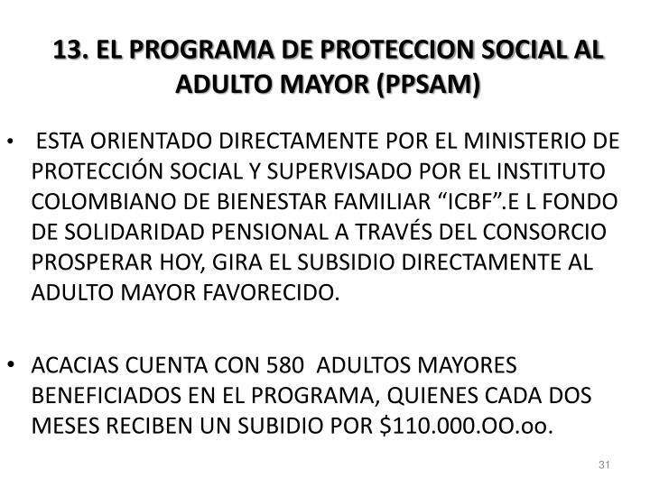 13. EL PROGRAMA DE PROTECCION SOCIAL AL ADULTO MAYOR (PPSAM)