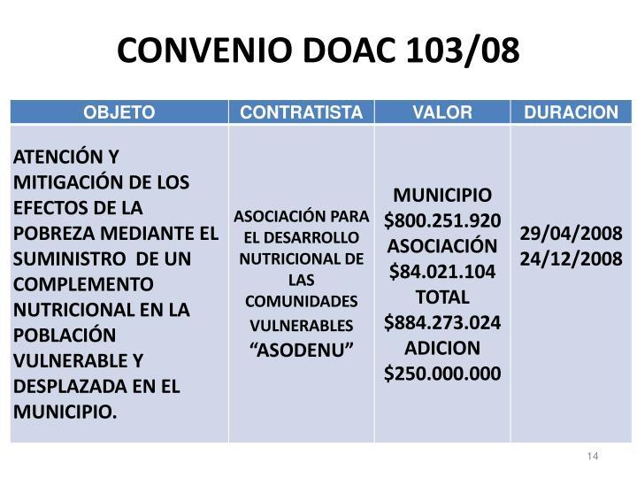 CONVENIO DOAC 103/08