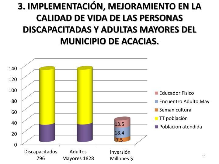3. IMPLEMENTACIÓN, MEJORAMIENTO EN LA CALIDAD DE VIDA DE LAS PERSONAS DISCAPACITADAS Y ADULTAS MAYORES DEL MUNICIPIO DE ACACIAS.