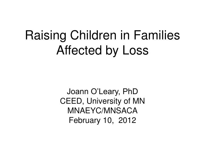 raising children in families affected by loss