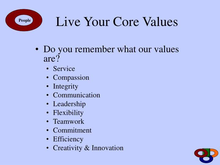 Live Your Core Values
