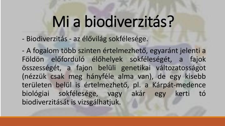 Mi a biodiverzit s
