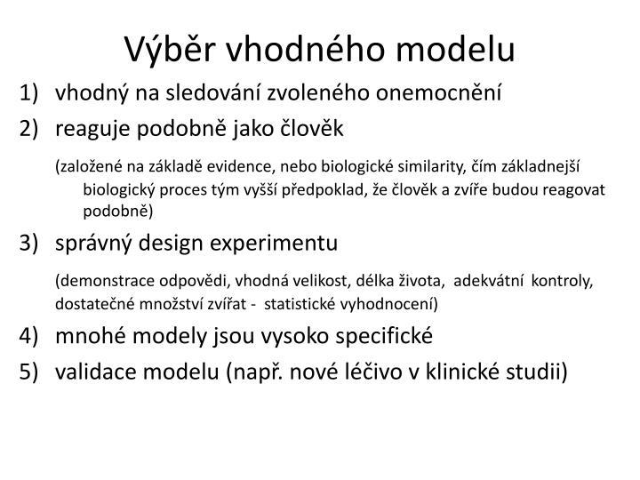 Výběr vhodného modelu