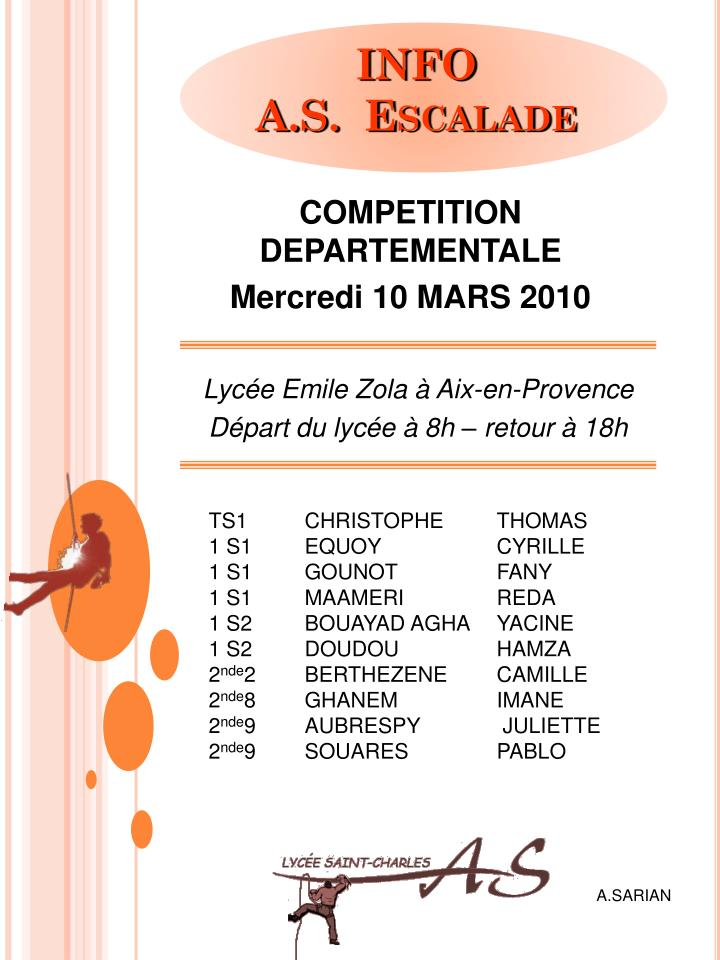 COMPETITION DEPARTEMENTALE