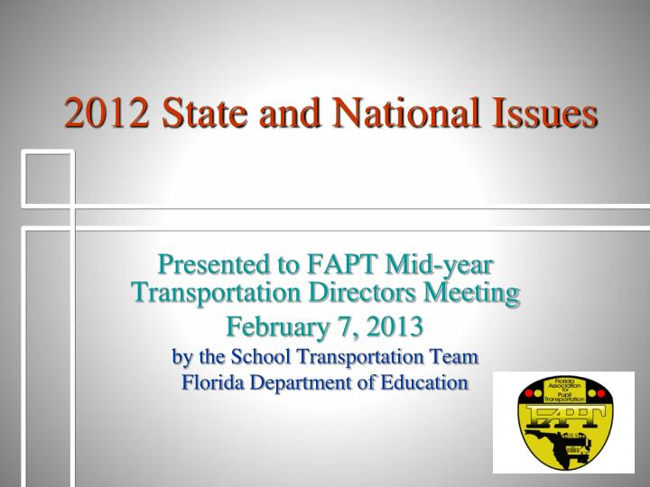 2012 state and national issues