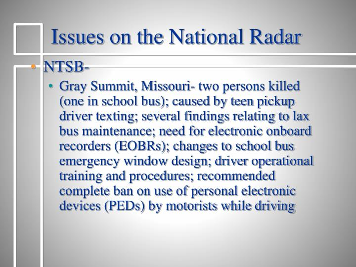 Issues on the National Radar