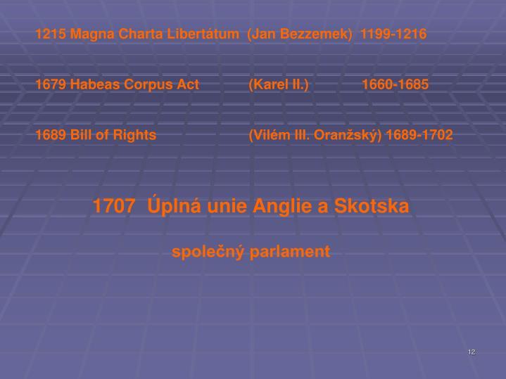 Magna Charta Libertátum  (Jan Bezzemek)  1199-1216