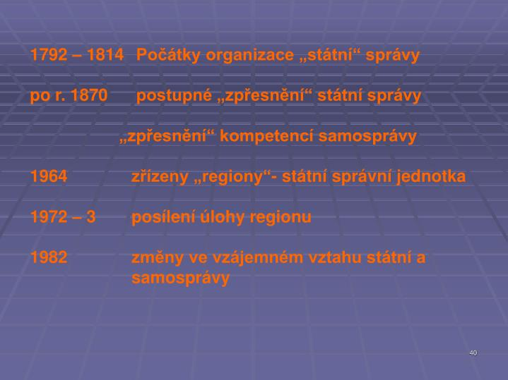 """1792 – 1814 Počátky organizace """"státní"""" správy"""