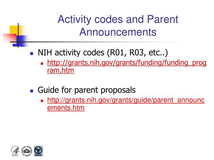 Activity codes and Parent Announcements