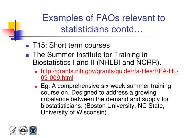 Examples of FAOs relevant to statisticians contd…