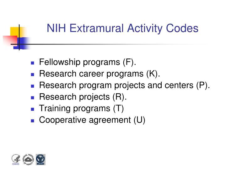 NIH Extramural Activity Codes