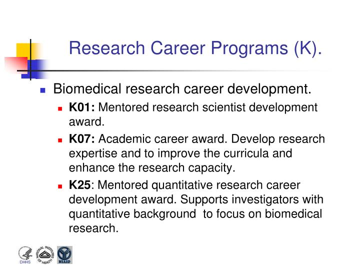 Research Career Programs (K).