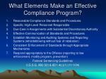 what elements make an effective compliance program