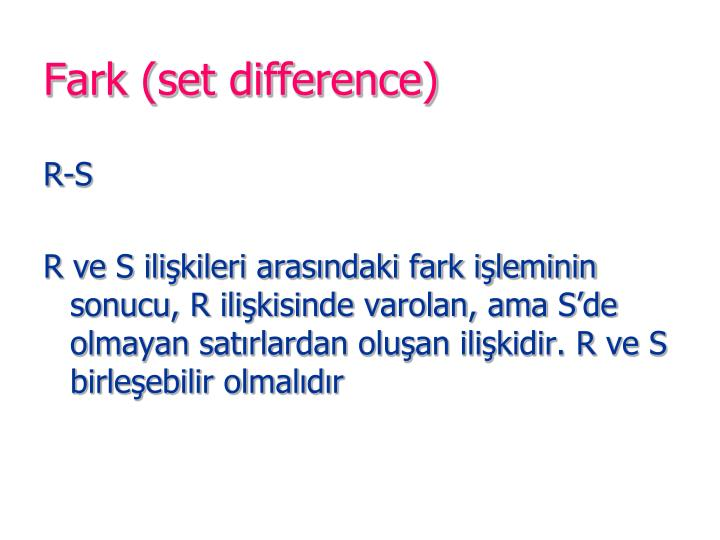 Fark (set difference)