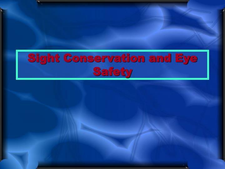 sight conservation and eye safety n.