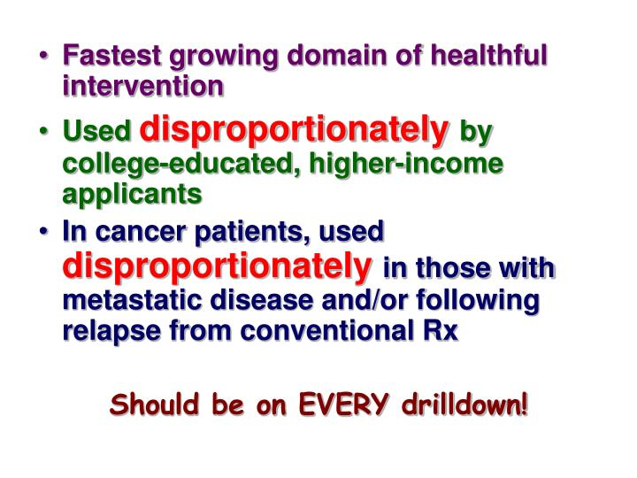 Fastest growing domain of healthful intervention