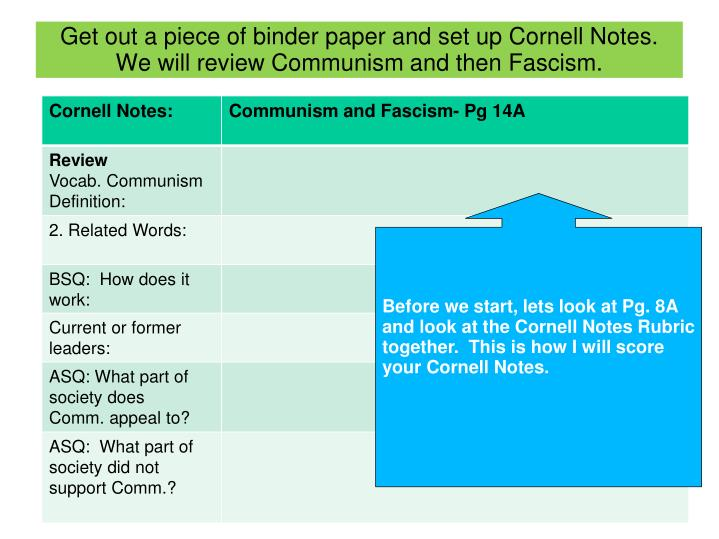 Get out a piece of binder paper and set up Cornell Notes.