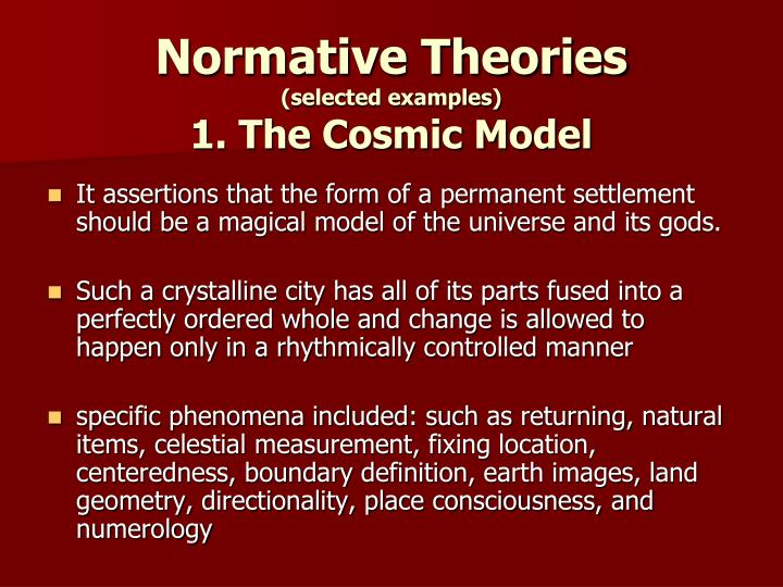 normative theories Normative theories of education provide the norms, goals, and standards of education educational philosophies normative philosophies or theories of education may make use of the results of philosophical thought and of factual inquiries about human beings and the psychology of learning, but in any case they propound views about what.