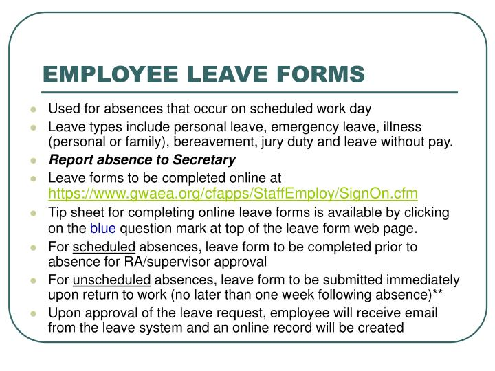 EMPLOYEE LEAVE FORMS