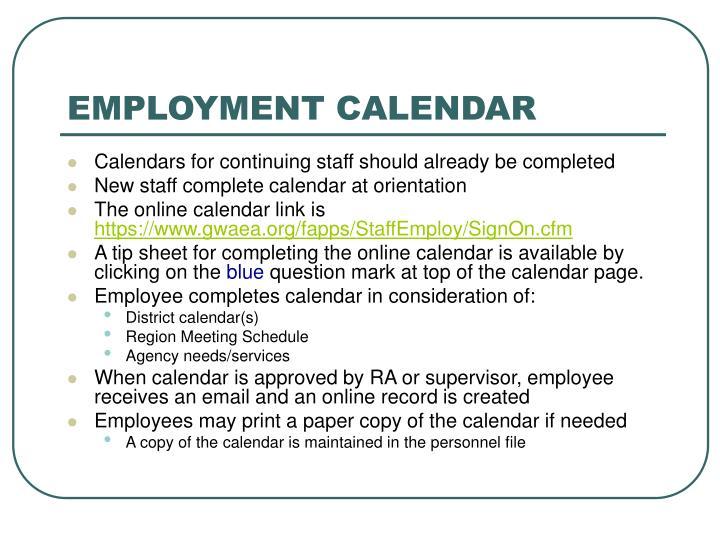 Employment calendar