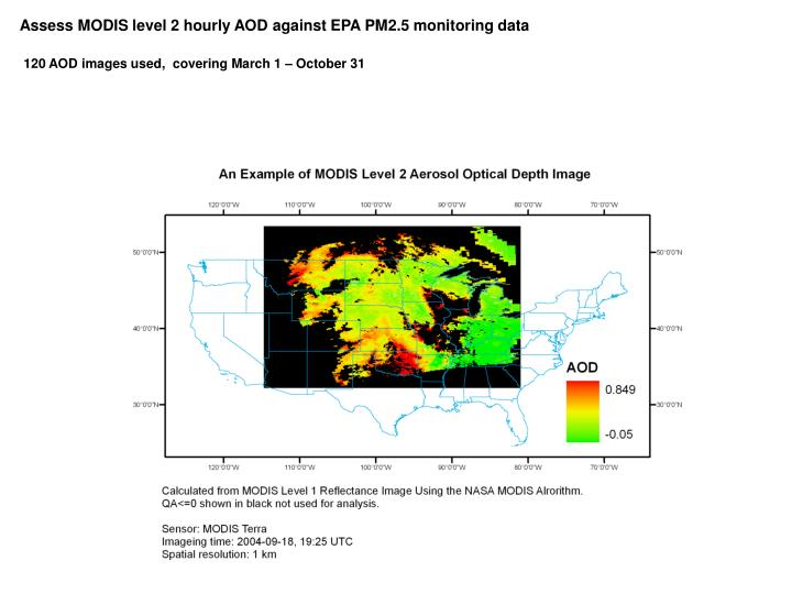 Assess MODIS level 2 hourly AOD against EPA PM2.5 monitoring data