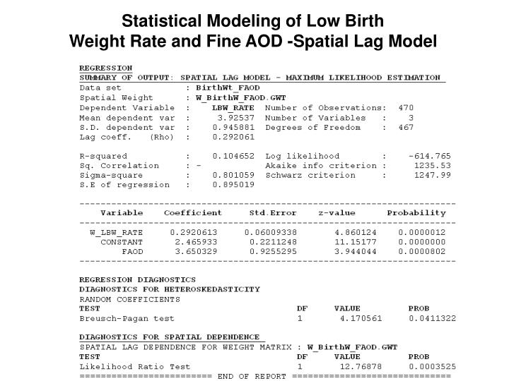 Statistical Modeling of Low Birth