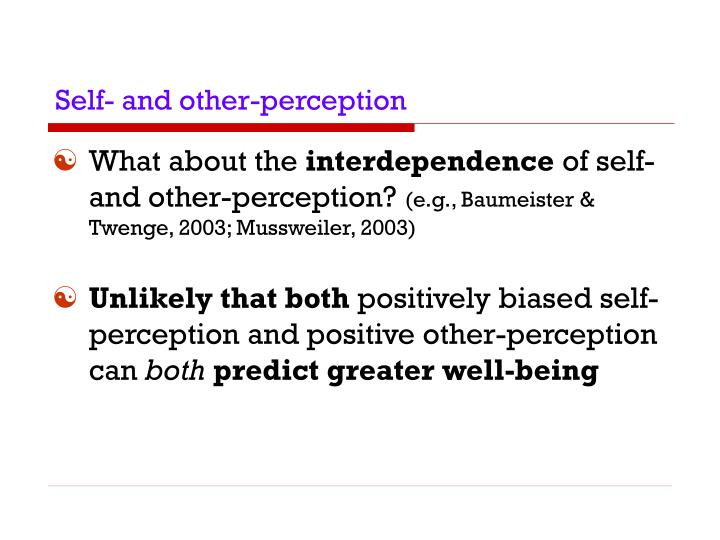 Self- and other-perception