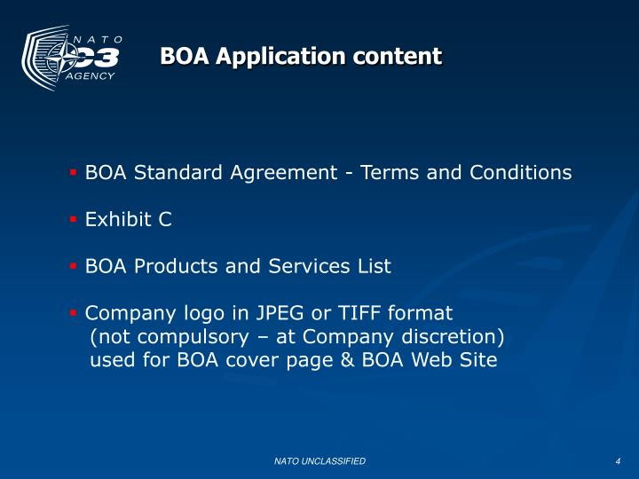 BOA Application content