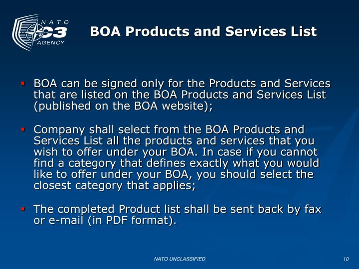 BOA Products and Services List