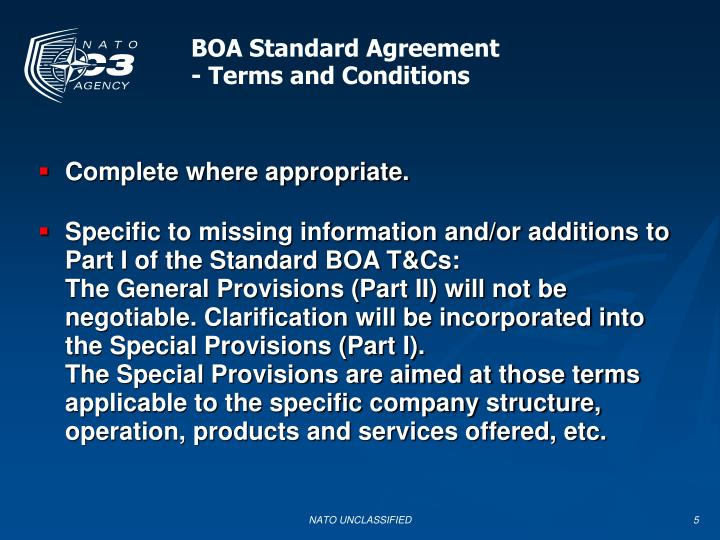 BOA Standard Agreement