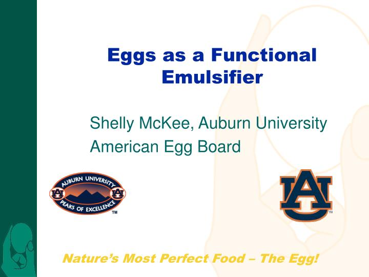 Eggs as a functional emulsifier