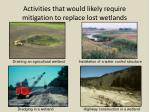 activities that would likely require mitigation to replace lost wetlands