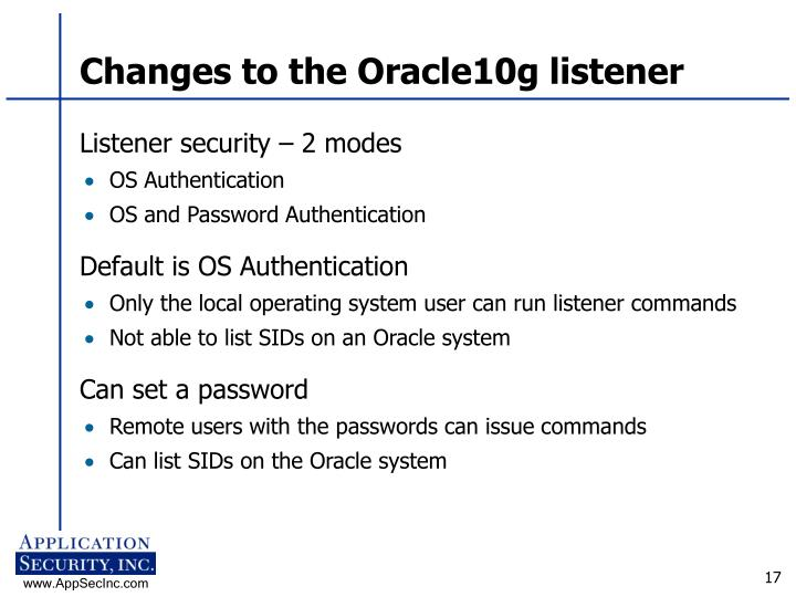 Changes to the Oracle10g listener